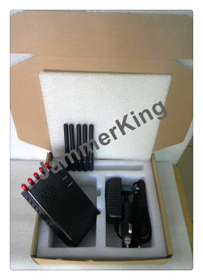 China 5 Antennas Handheld WiFi 3G Signal Jammer with Cooling Fan - China 5 Band Signal Blockers, Five Antennas Jammers