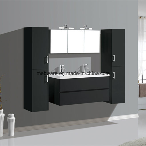 Melamine MDF Bathroom Vanities with Side Cabinet Resin Sink Cabinet