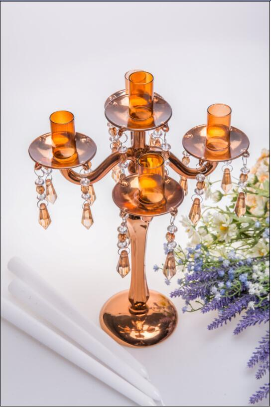 Golden Five Poster Glass Candle Holder for Wedding Decoration