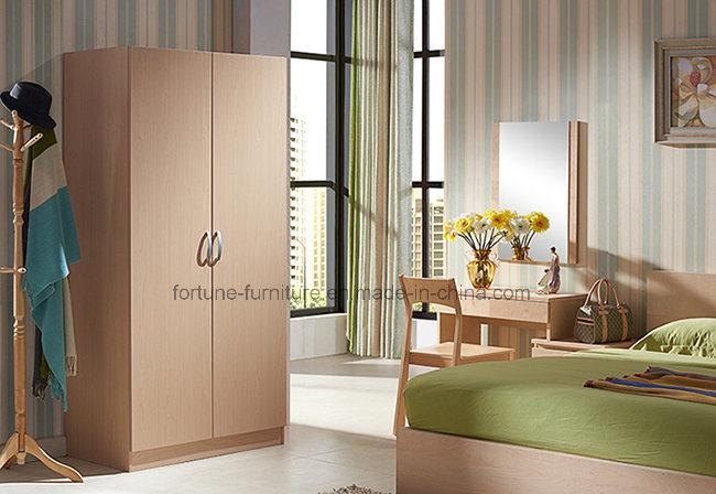 Modern Wooden Birch Veneer UV Matt Clear Lacquered 2 Doors Wardrobe (AD-FY-N1014-YG)
