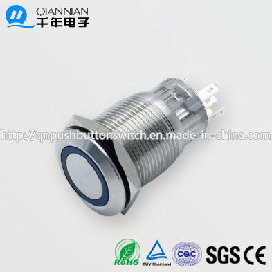 19mm 1no Nc/2no 2nc Resetable Self-Locking Flat Ring Illuminated IP67 Ik10 Push Button Switch