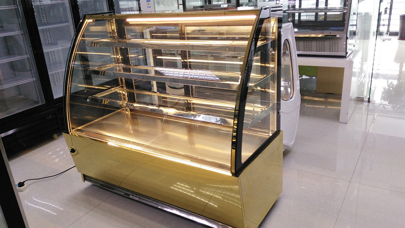 Curve Glass Cake Showcase Cooler for Display Cake or Snack in Bakery Shop
