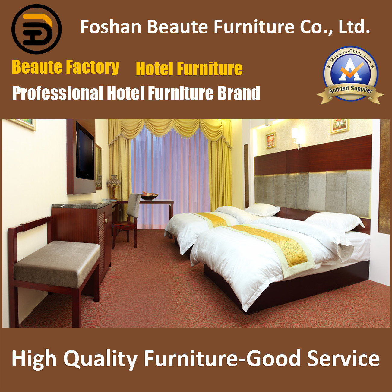 Hotel Furniture/Luxury Double Bedroom Furniture/Standard Hotel Double Bedroom Suite/Double Hospitality Guest Room Furniture (GLB-0109871)