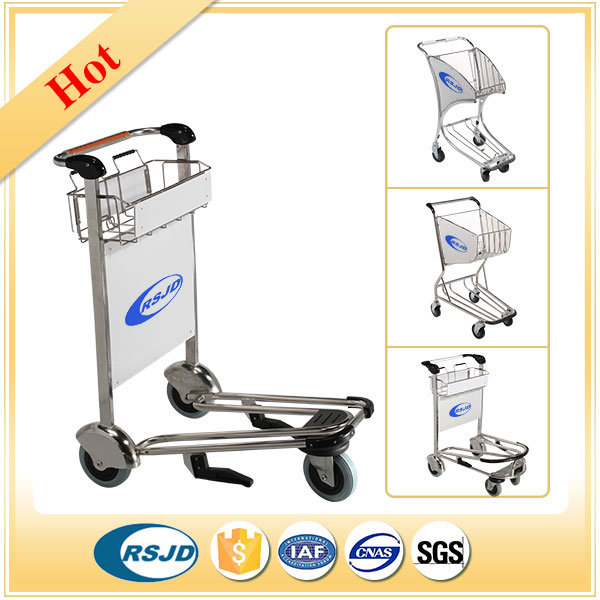 Stainless Steel Airport Luggage Baggage Passenger Cart with Brake