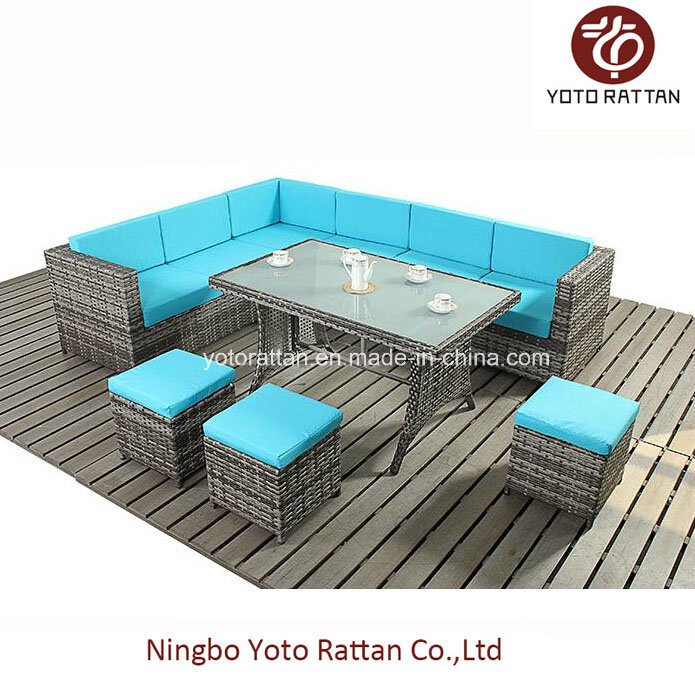 Steel Table Corner Sofa Set (903 blue)