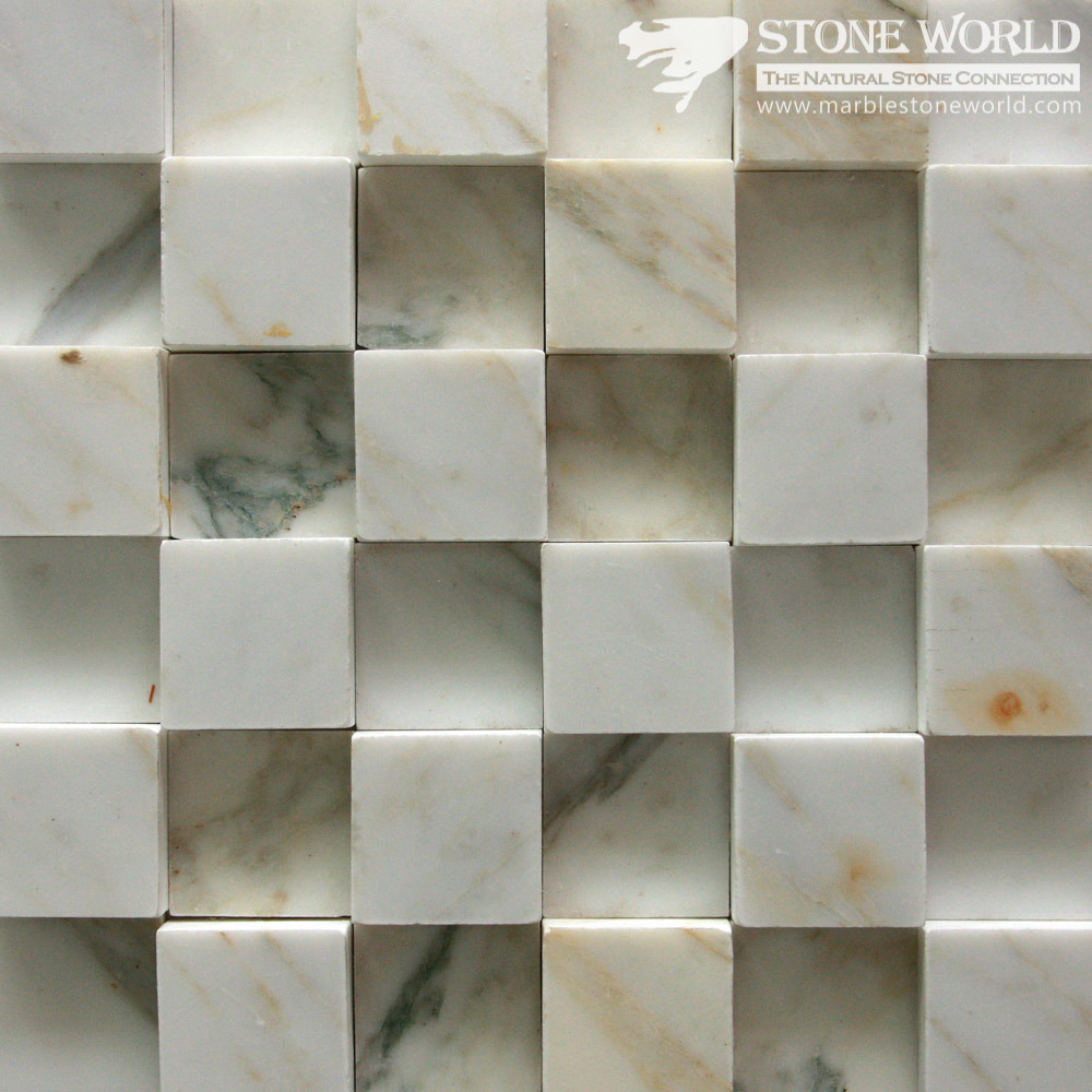 Polished White Marble Mosaic Tiles for Bathroom Floor & Wall (mm-010)