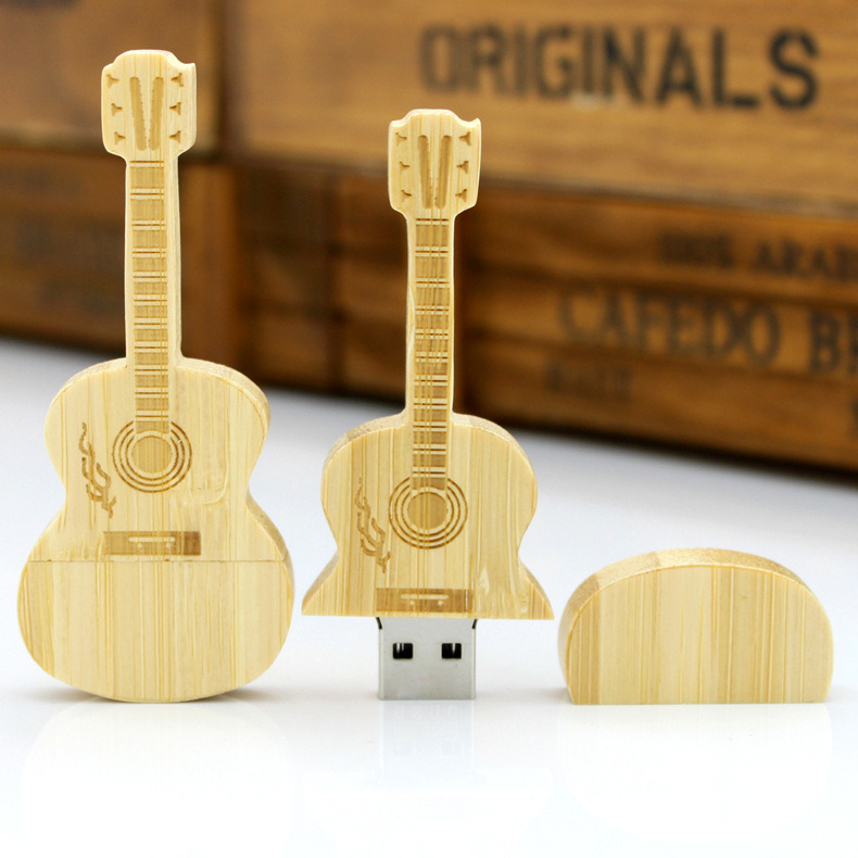 New Fashion Guitar Shape USB Flash Drive Stick Wooden Pendrives as Promotional Gifts to Customers