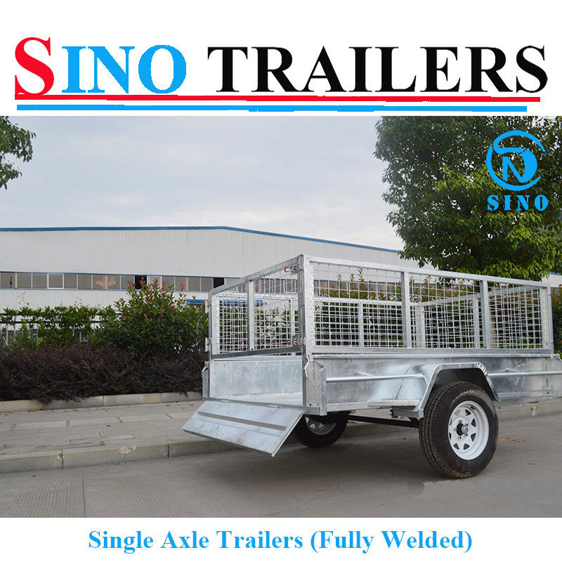 Flat Steel Cage Trailer with Single Axle