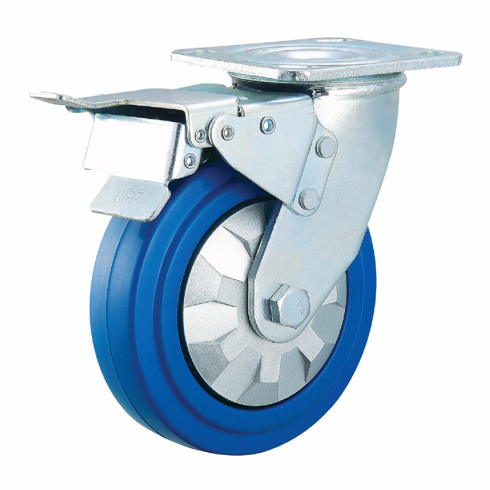 4 Inch-8 Inch Heavy Duty Elastic Rubber Castor Wheel Industrial Caster with Brake