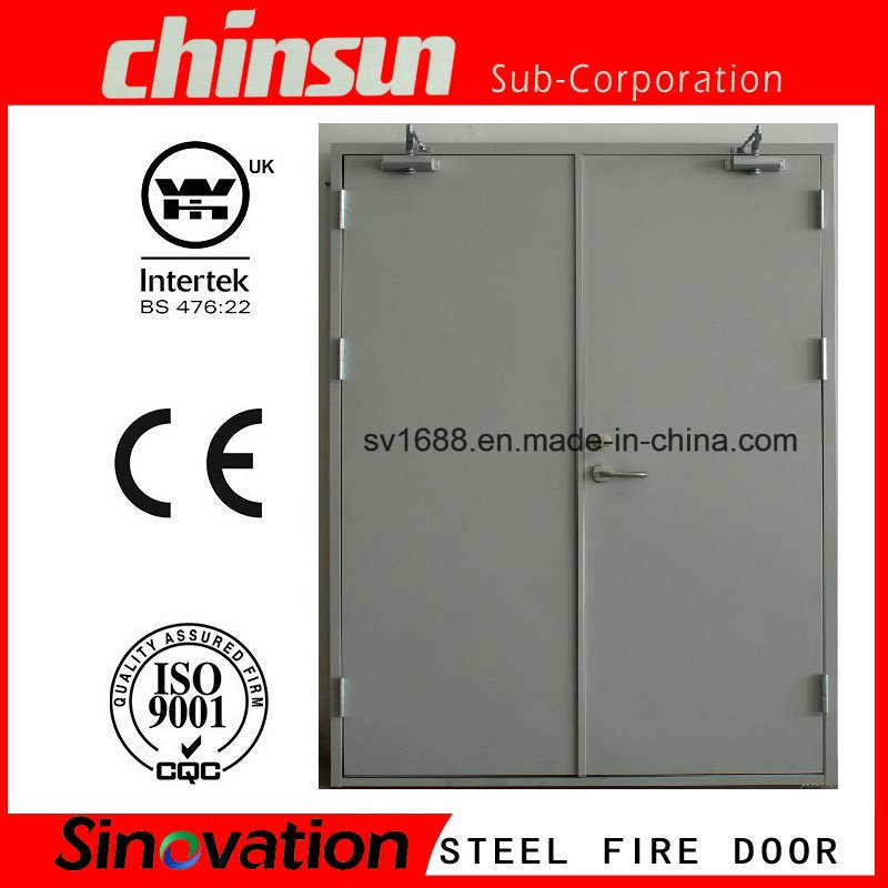 Double Steel Fire Door with Push Bar and Closer