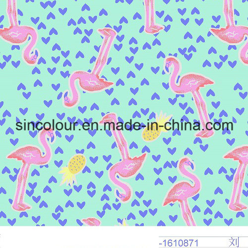 Heart Design Printing 80%Nylon 20%Elastane Knitted Fabric for Swimwear