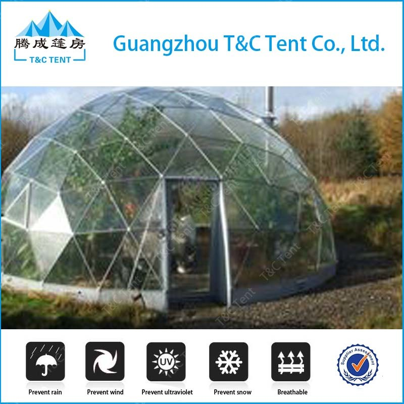 Outdoor Aluminum Structure Glass Dome House Polystyrene / Geodesic Arch Tent
