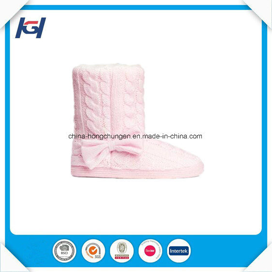Winter Pink Knitted Warm Indoor Boots for Women