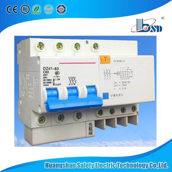 Dz47le 3p+N Residual Current Circuit Breaker, Leakage Protection RCBO