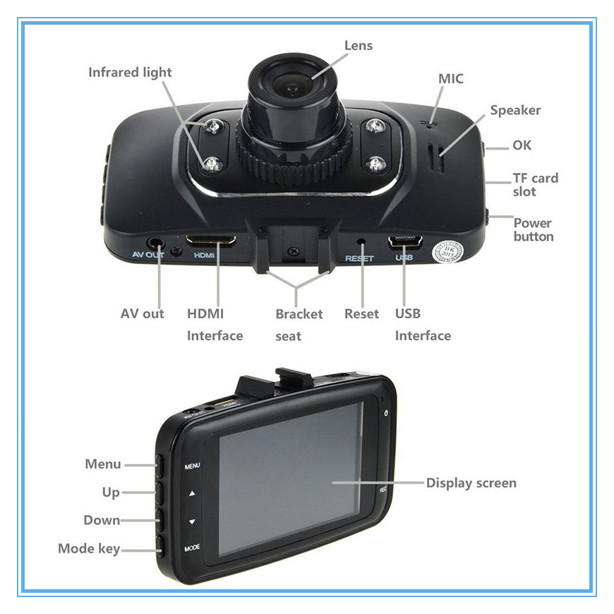 Dual Camera Lens Full HD 1080P Mini WiFi Car DVR with Night Vision