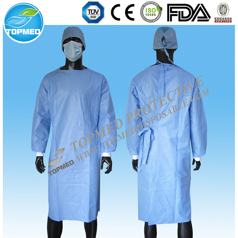 Disposable Non-Woven Isolation Gown / Reinforced Surgical Gown with Knitted Cuff
