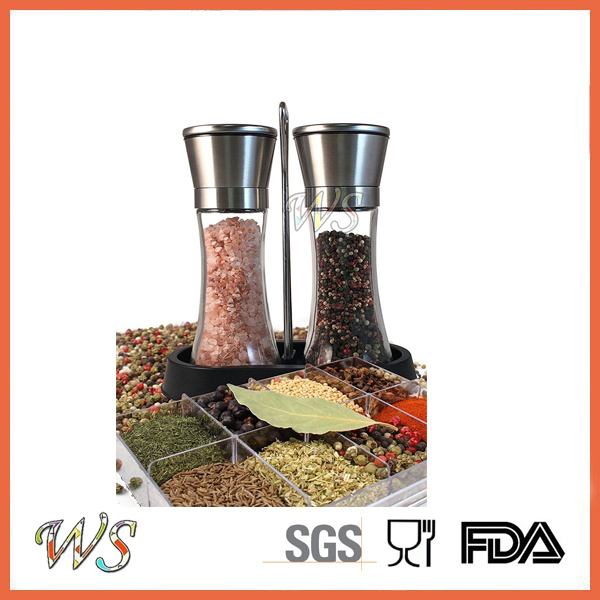 Ws-Pgs007 Salt and Pepper Grinder Set Stainless Steel Finish Salt and Pepper Mill