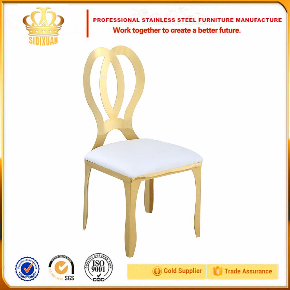 Chair Wedding White Throne Stainless Steel Chair, Golden Banquet Modern Dining Chair