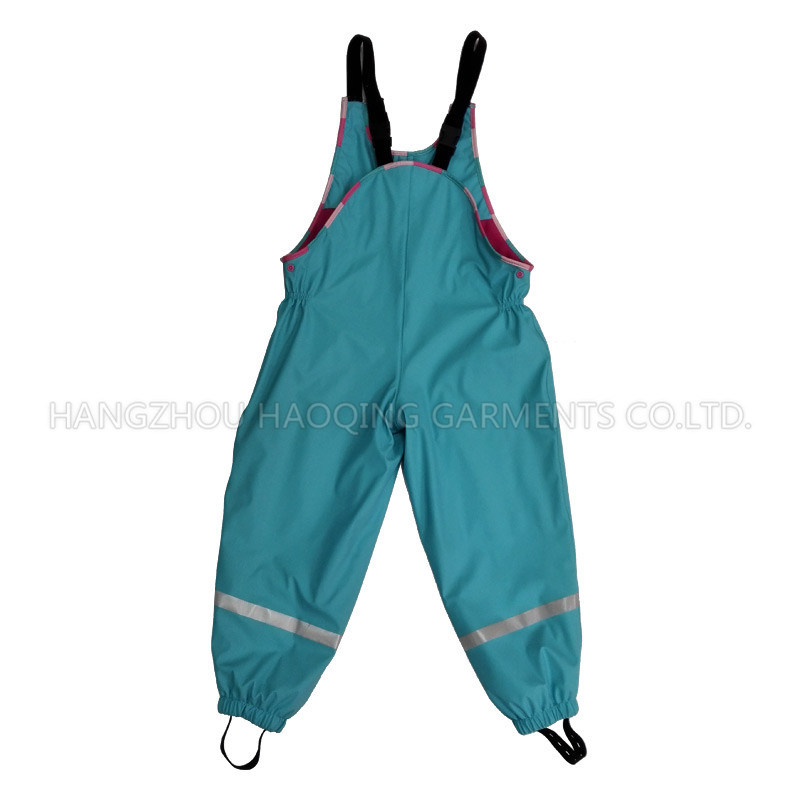 Blue Solid PU Rain Pants