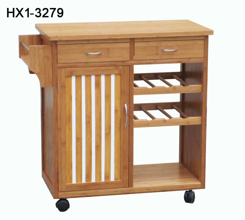China Bamboo Kitchen Trolley Hx1 3279 China Bamboo