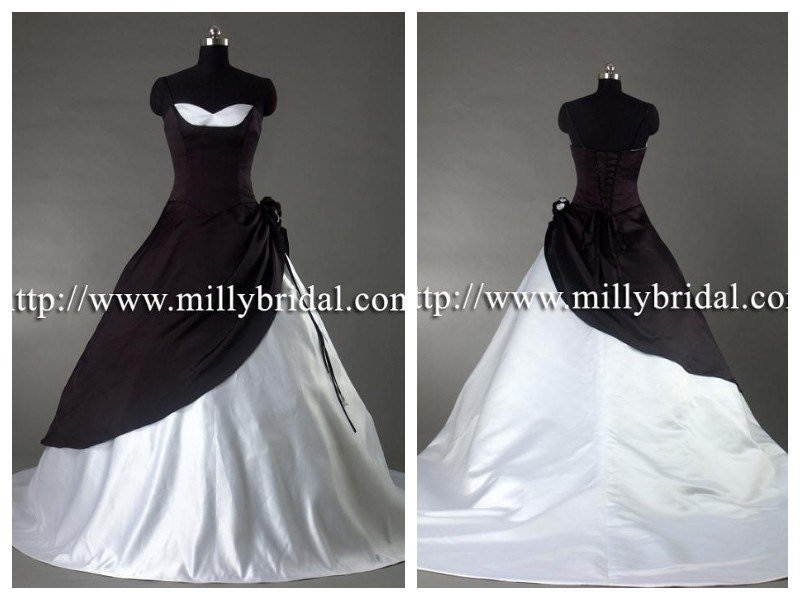 White and Black Wedding DressesBridal Gowns WG0885