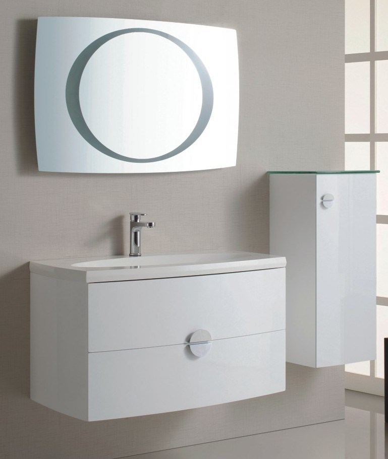 china wall mounted high gloss white color pvc bathroom