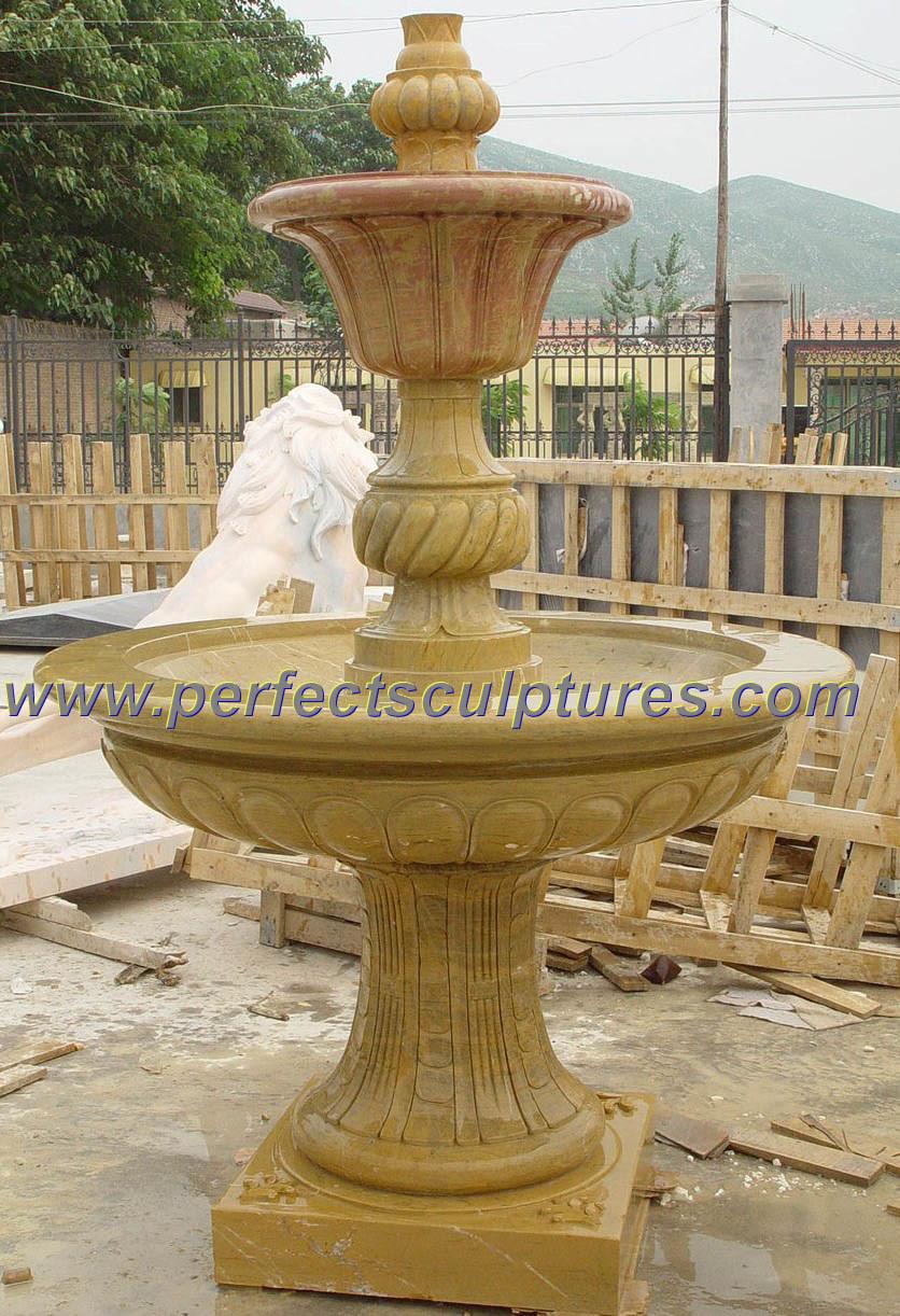 China Yellow Beige Travertine Limestone Garden Stone Water
