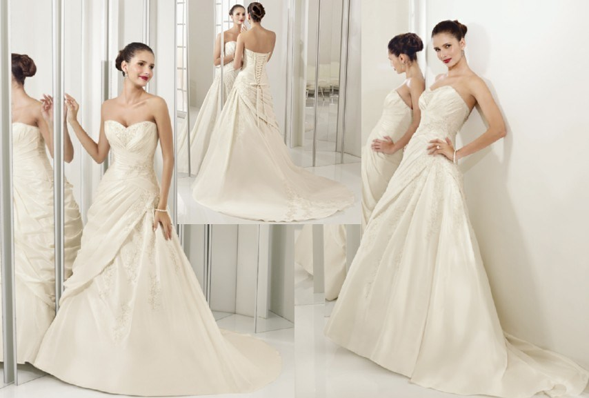 China Princess Sweetheart Neckline Appliqued Beaded Satin Wedding Gowns WDS 5104