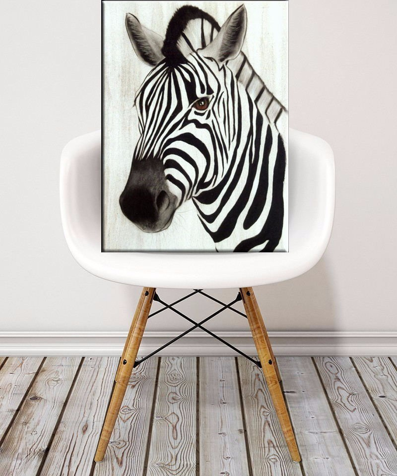 Hand Painted Zebra Oil Painting on Canvas for Decorative Wall Arts