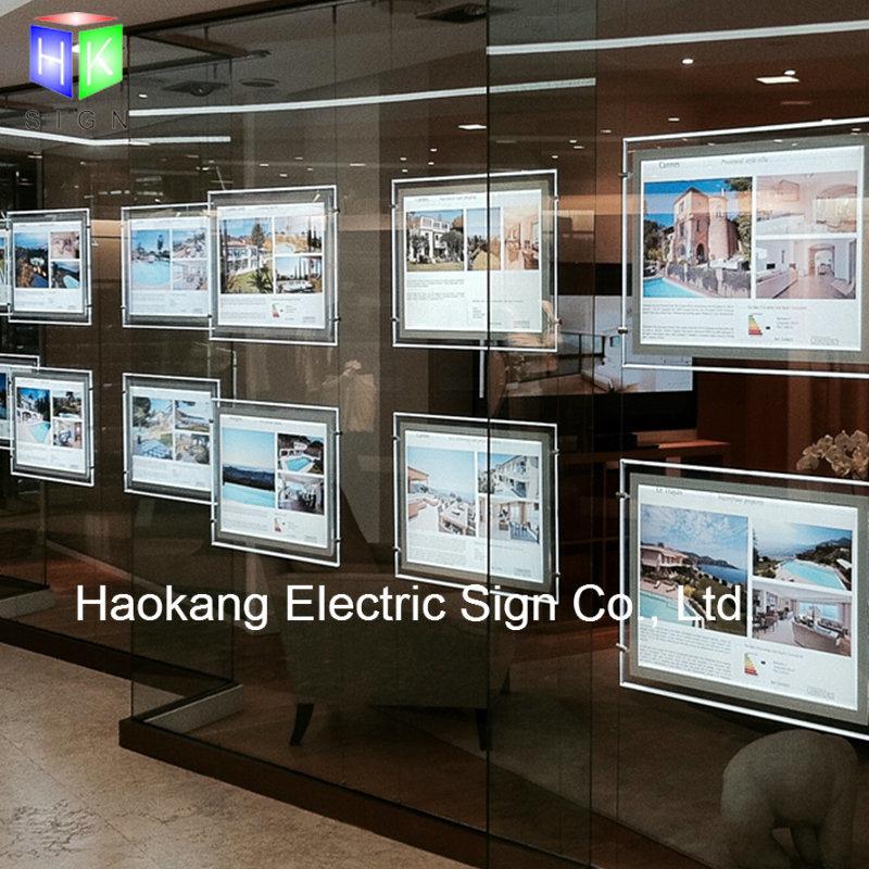 Window Hanging Crystal Picture Frame Landscape LED Light Box for Real Estate Agent Advertising Sign Holder