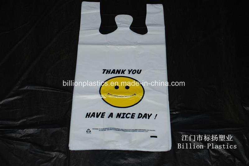 HDPE Smile Face Plastic T-Shirt Bag with Printing