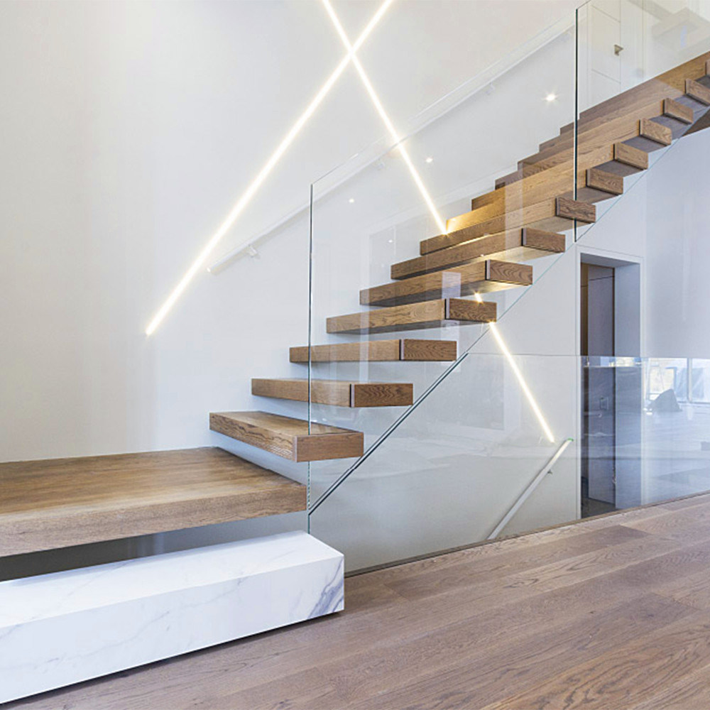 China Invisible Steel Stringer Floating Staircase with Landings - China  Staircase, Floating Staircase