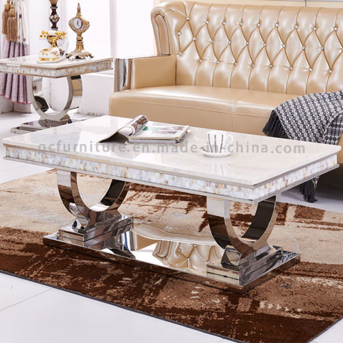 2016 Newest Modern Design Stainless Steel Frame Marble Coffee Table