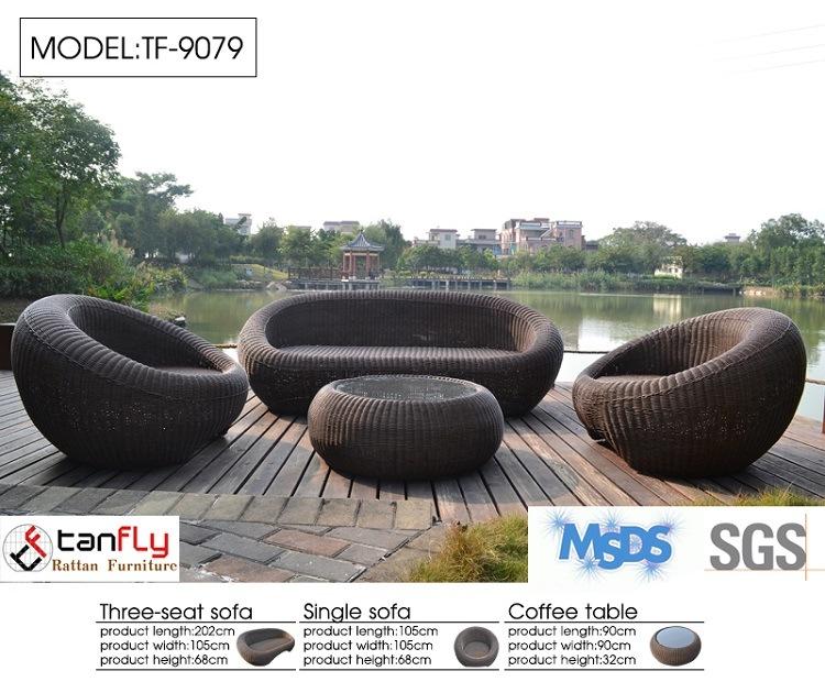 High End Patio Furniture All Weather PE Rattan Sofa Set
