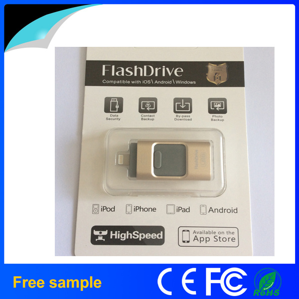 100% Real Capacity 64GB 128GB Metal 3 in 1 OTG USB Flash Drive