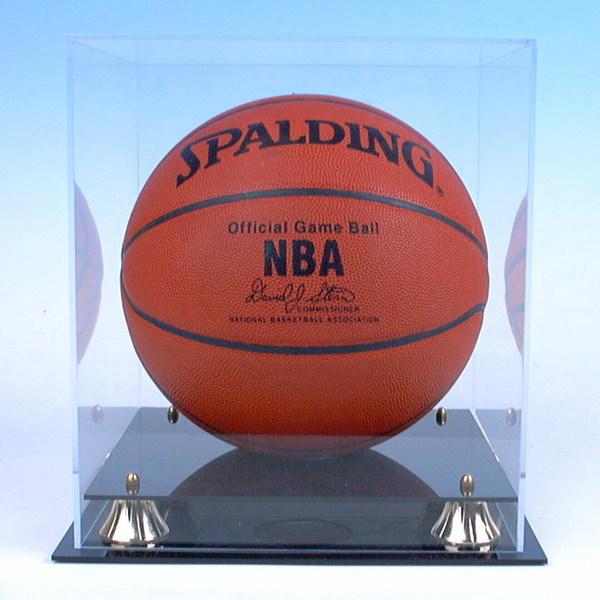 Basketball & Soccer Ball Display Cube, Acrylic Football Display Case - Black Base