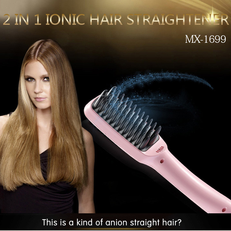 2016 Newest 100% Original Brush Hair Straightener Comb Irons Come with LCD Display Electric Straight Hair Comb Straightening