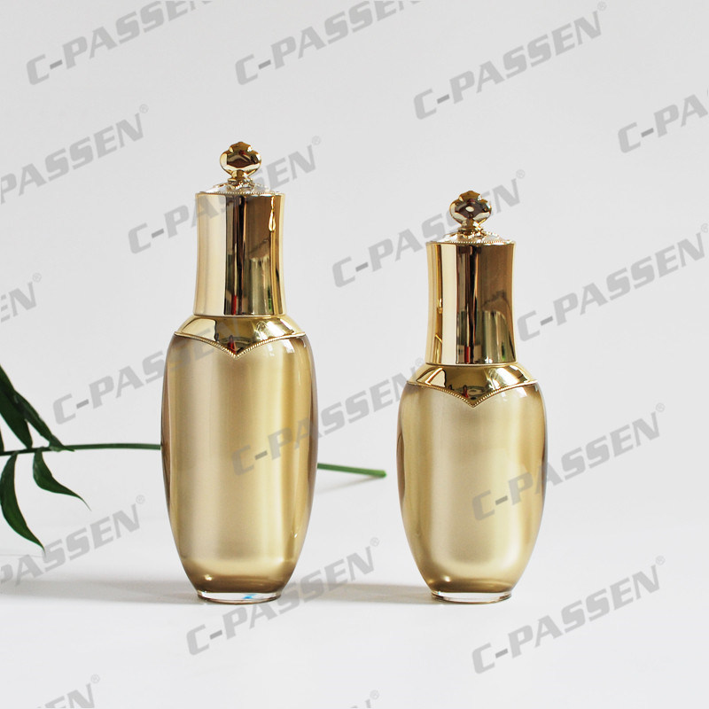 Luxury Gold Crown Cosmetic Packaging Acrylic Bottle Cream Jar (PPC-NEW-004)