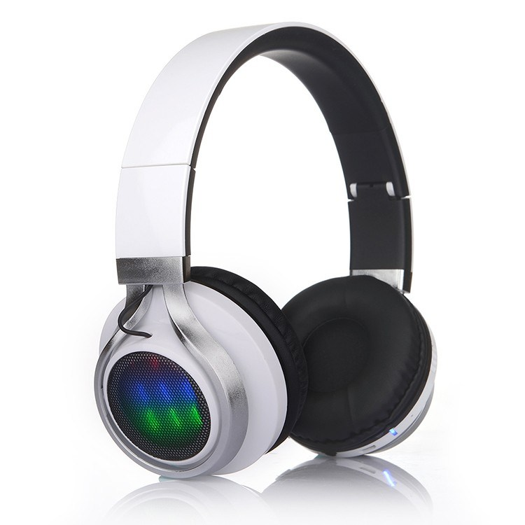 Folding Wireless Bluetooth Stereo Headphones Adjustable Headsets with LED Lights