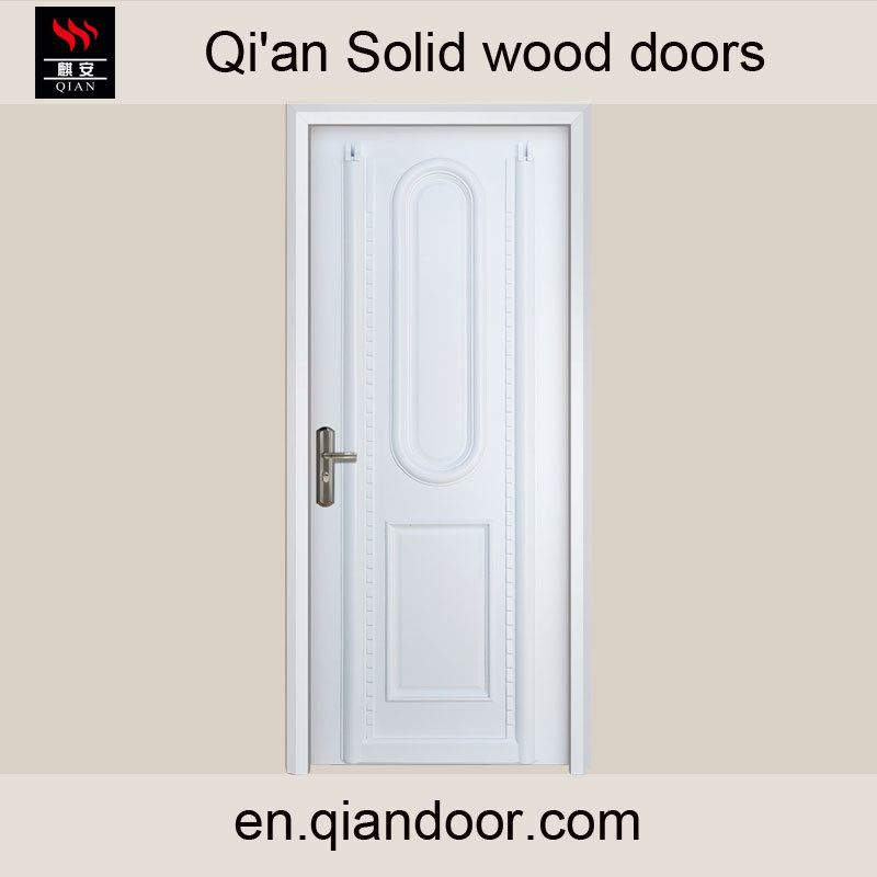 Western Style White Painted Solid Wood Door, White Color