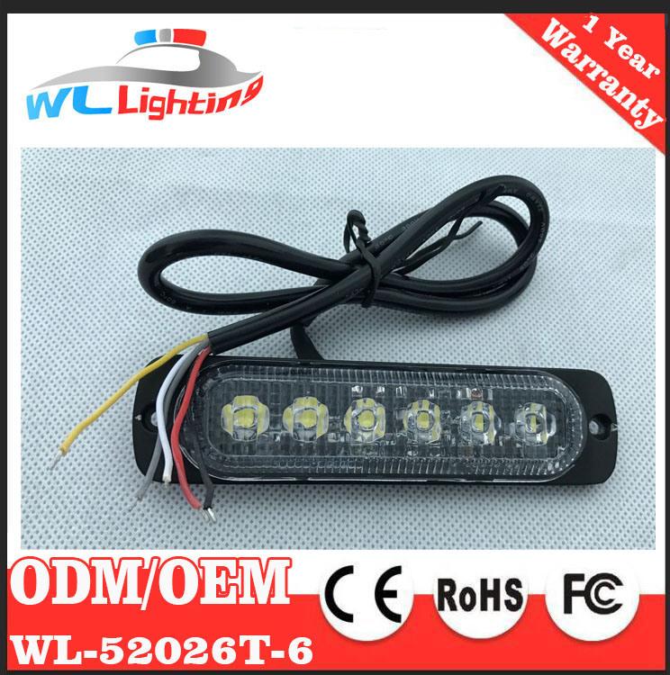 Super Slim Surface Mount Warning Light 6 LED Flashing Lamp