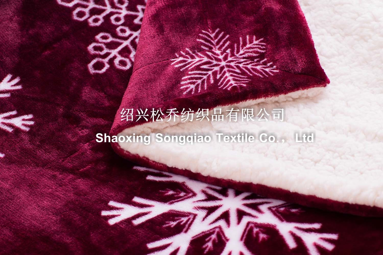 Polyester Printed Sherpa Fleece Blanekt