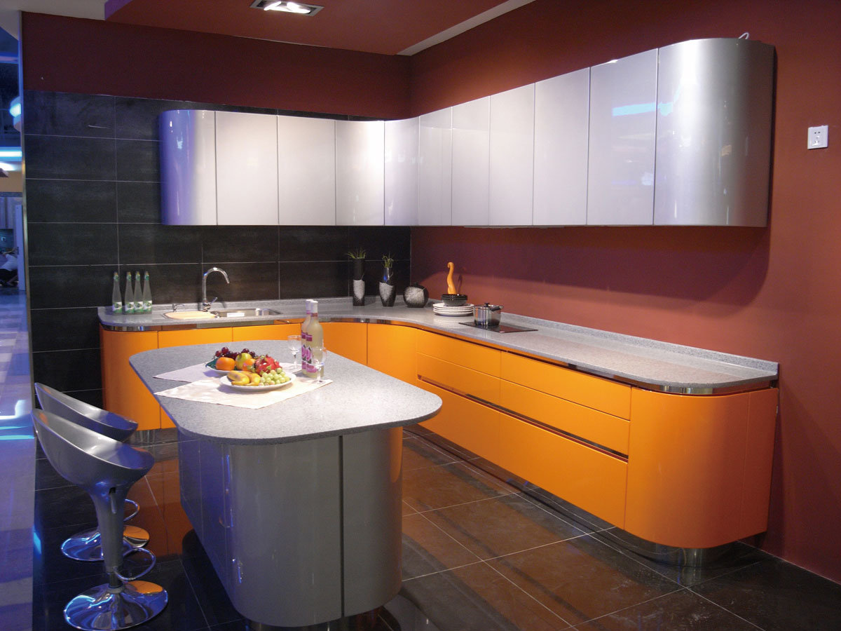 Affordable Modern Apartment High Gloss Kitchen Cabinets