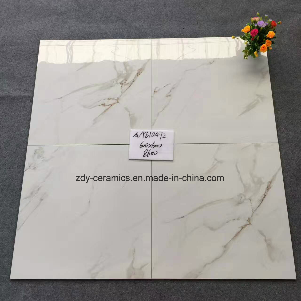 Foshan Promotion Tile Karara White 60X60 and 80X80 Full Polished Glazed Marble Floor Tile
