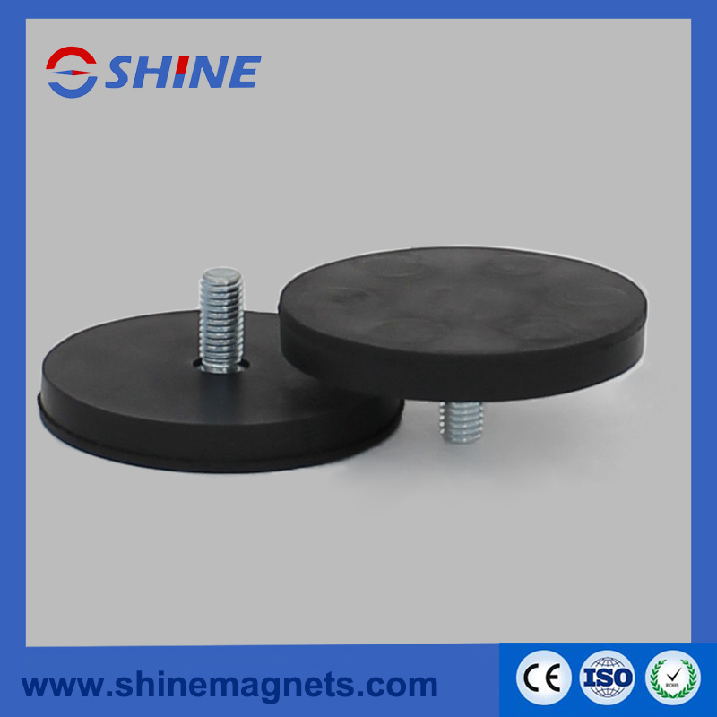 NdFeB Rubber Coated Holding Pots with M4 Thread D43