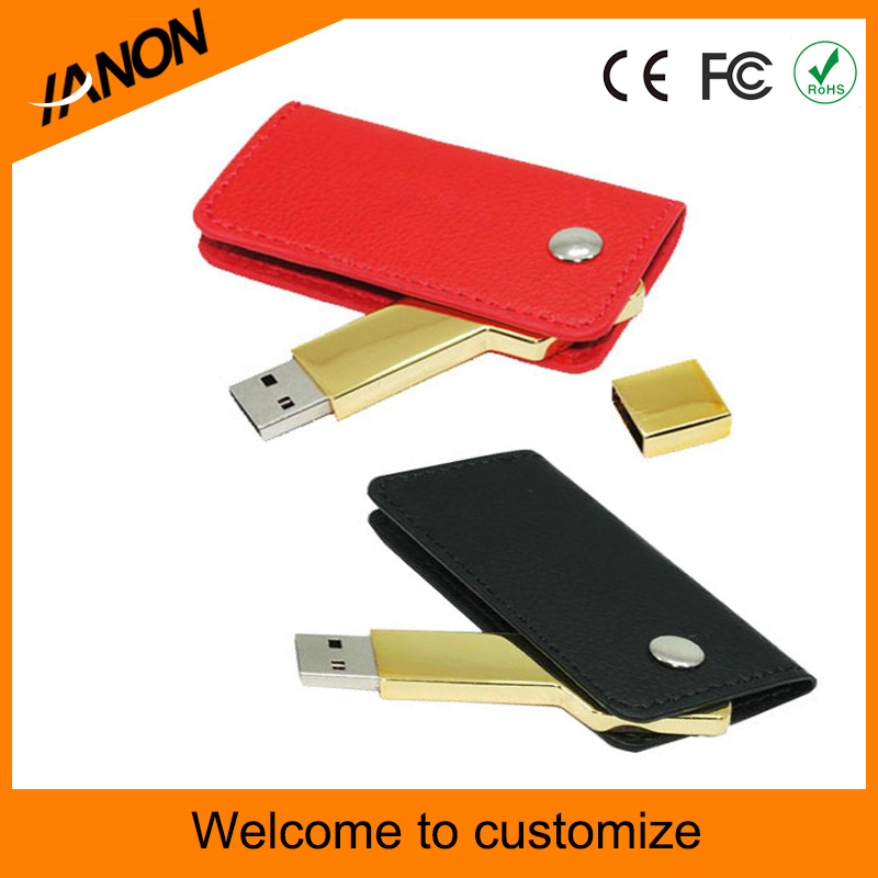 Golden Key and Leather USB Flash Drive with Customize