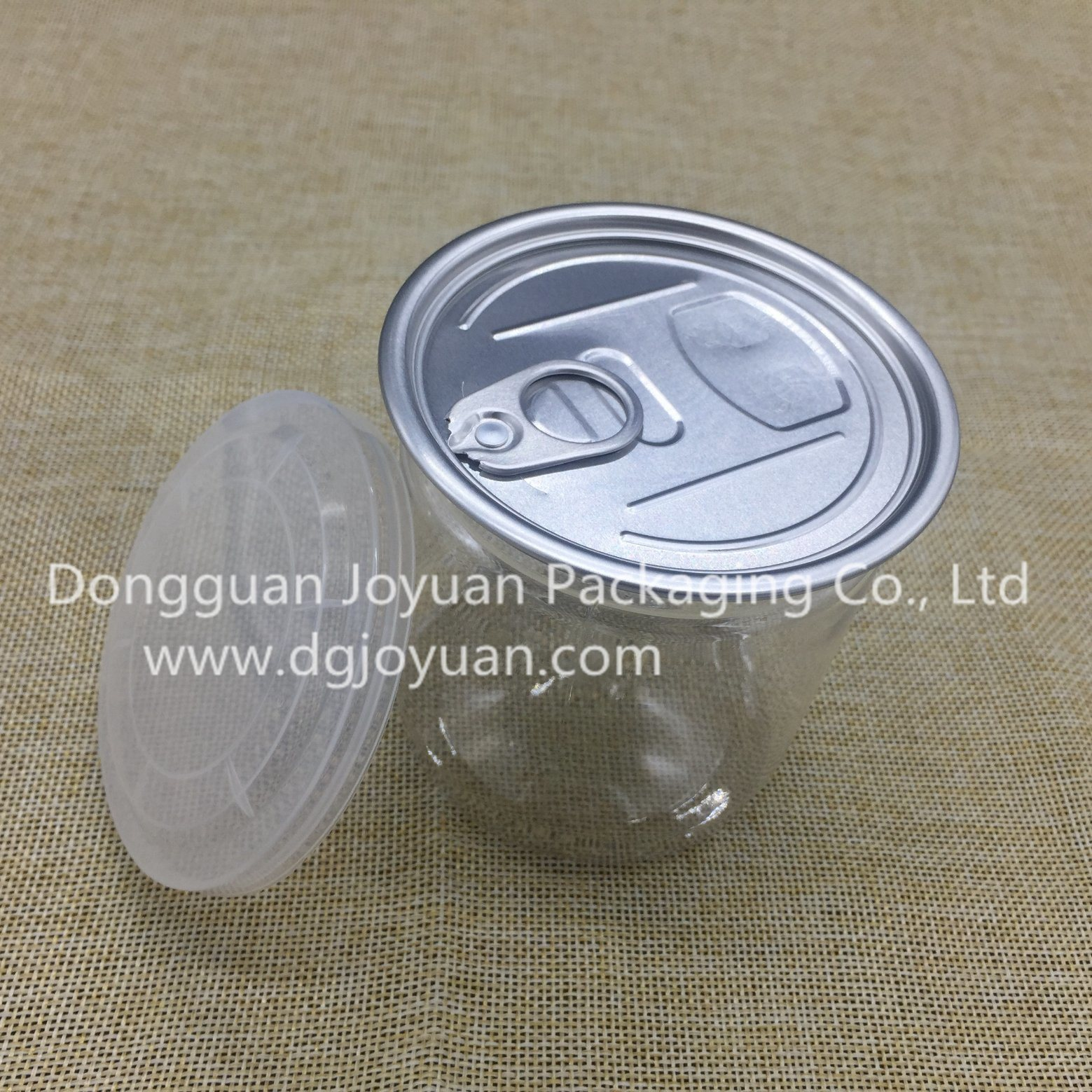 Plastic Pet Container with Aluminum Easy Open End