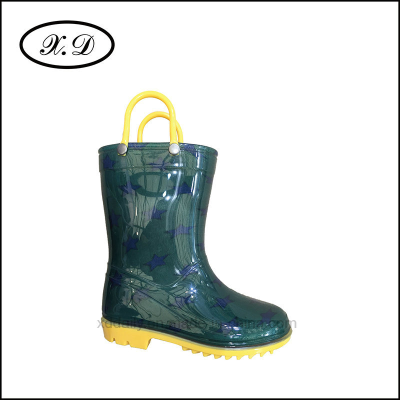 Fashion Rain PVC Kid Boots with Handle (BX-026)