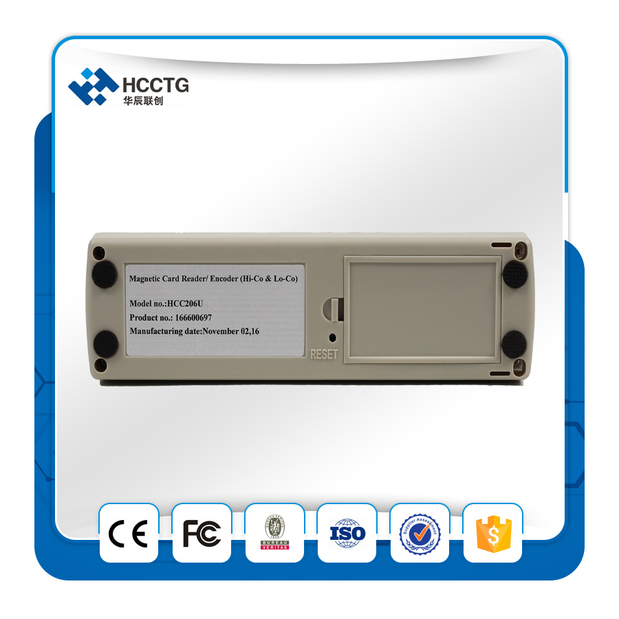RS232 Interface Mini Msr206 Magnetic Stripe Card Reader Writer (HCC206R)