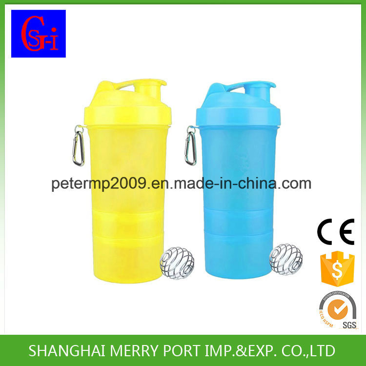 Customized Color Plastic Salad Cup Shaker Bottles Water Bottle with Two Layers Pill Boxes